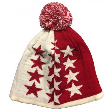 Bonnet Valais rouge et blanc