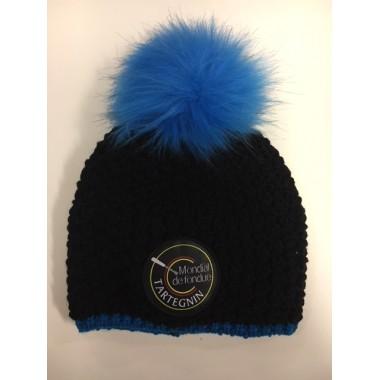 Bonnet à pompon bleu