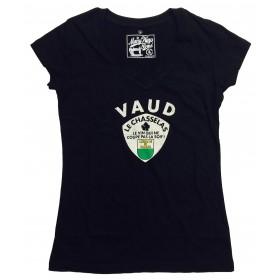 T-shirts col V Vaud Chasselas femme noir